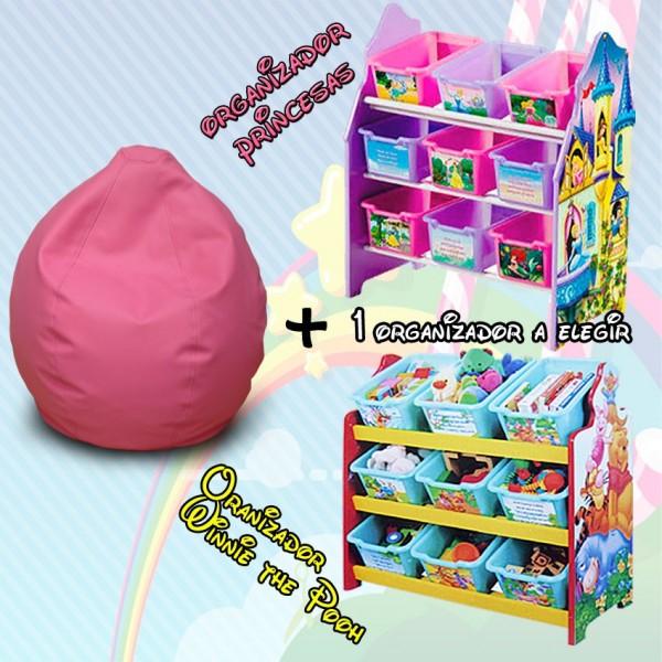 Puff infantil + Organizador de juguetes