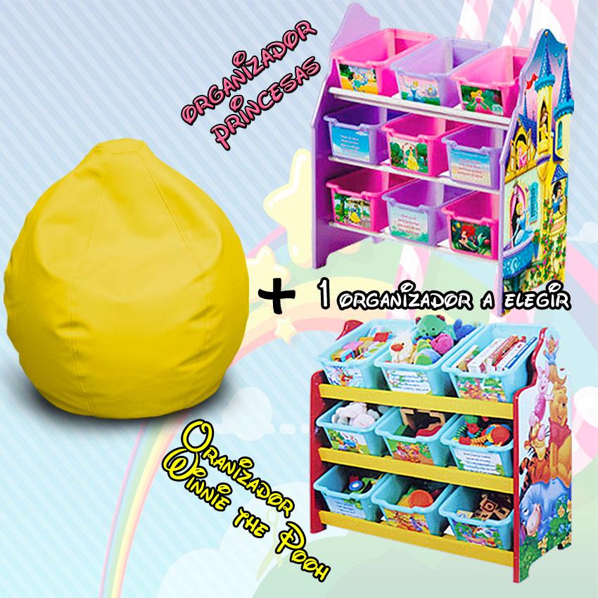 Pack Puff Infantil Ideal + Organizador de Juguetes Disney