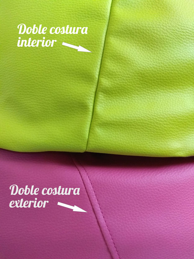 puff de colores con doble costura