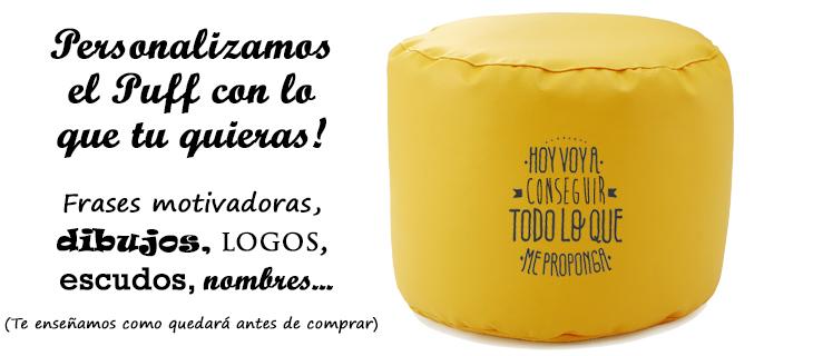 Personalización de puffs con logotipos, escudos, nombres, dibujos, frases motivadoras... Lo que imagines!